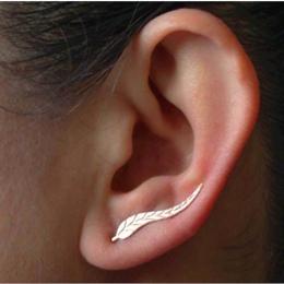 E02 Nowy Biżuteria Liścia Stadniny Kolczyki Dla Kobiet 2017 gorąca Sprzedaż 1 Para Ear Cuff Złota-kolor Kolczyk Hurtownie Bezpła