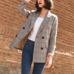 W stylu Vintage podwójne piersi Plaid kobiety kieszenie marynarka kurtki kobiet Retro garnitury płaszcz Feminino blazers kurtki