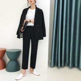 W stylu Vintage, jesień, zima zagęścić kobiet spodnie garnitur zielone światło ścięty żakiet z dzianiny dresowej i spodnie 2019