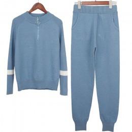 Lurex kobiety sweter garnitury i ustawić na co dzień swetry z dzianiny spodnie 2 sztuk dresy zamek kobiet spodnie + bluzy Top od