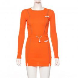 Simenual Casual Fashion odblaskowe paski dwuczęściowe stroje damskie z długim rękawem Top i Mini komplety spódniczek 2019 jesień