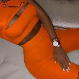Simenual Neon kolor damski zestaw dwuczęściowy jedno ramię na co dzień dresy wyciąć uprawy Top i Biker spodenki zestawy sportowy