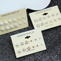 E0126 Moda Mieszania Kryształ Simluated Pearl Stadniny Kolczyki 6 para/zestaw Błyszczące wiele Kolczyki Biżuteria Dla Kobiet Dzi