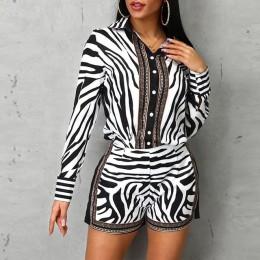 Kobiety Zebra druku zapinane na guziki koszula i zamek błyskawiczny ubranko z krótkim rękawem pełne dorywczo pojedyncze piersi s