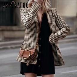 Affogatoo Fashion double breasted plaid blazer damski z długim rękawem slim damski blazer biurowy 2018 Casual jesienna kurtka bl