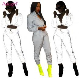 Adogirl kobiety Sexy odblaskowe dres noc wersja przyciski skręcić w dół kołnierz z długim rękawem Crop Top + spodnie na co dzień