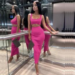 NewAsia ogród dwuczęściowy zestaw 2 sztuka zestaw kobiety zima prążkowany krótki top i zestaw spódnic pasujące zestawy kobieta s