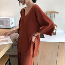 Knitting kobiecy sweter Pantsuit damski zestaw dwuczęściowy dziergany sweter dekolt w serek z długim rękawem bandażowa bluzka sz