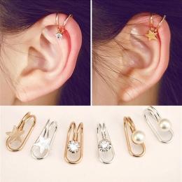 Moda Wielu stylu trend kobiet w kształcie litery U kolczyki Earless ucha klip Serca w kształcie motyla księżyc Kobiece kolczyki