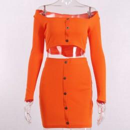 Kryptograficzna moda stroje jasny pomarańczowy zestawy damskie przyciski z długim rękawem krótkie bluzki Sexy dwa kawałki ustawi