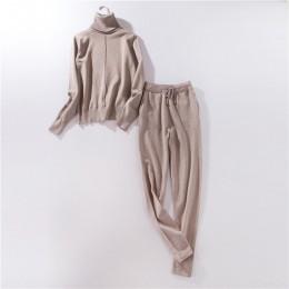 Kobiety garnitur dres kostium 2 sztuk ustawia jesień zima swetry z golfem i długi z dzianiny spodnie kombinezony z dzianiny