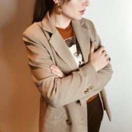 BGTEEVER klasyczny Plaid podwójne piersi kobiet marynarka z kołnierzykiem kobiece garnitury Houndstooth mody płaszcz 2019 jesień