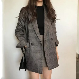 Damskie sprawdź z długim rękawem bawełna kurtka na co dzień w stylu vintage płaszcz plaid blazer