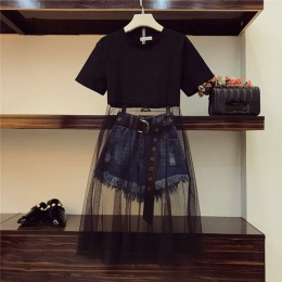 Luksusowe jakości 2019 lato kobiety Mesh Patchwork czarny długi T-shirt + pomponem dżinsowe szorty 2 sztuka zestawy z paskiem