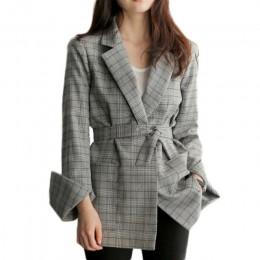 Wiosna jesień kobiety szary pled pani urząd marynarka moda Bow Sashes podział rękawem kurtki elegancki pracuj Blazers Feminino