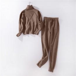 Kobiety sweter garnitur i ustawia na co dzień jesień zima 2 sztuk dres dorywczo z dzianiny kobiet spodnie + bluzy z kapturem kos