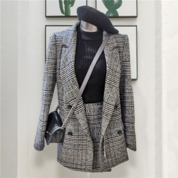 CBAFU jesień wiosna z długim rękawem kurtka płaszcz kobiety znosić plaid tweed spódnice garnitur kobiety 2 sztuk zestawów kobiet