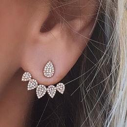 E0123 Koreański Biżuteria New Crystal Przód Tył Dwustronna Stadniny Kolczyki Dla Kobiet Moda Ear Cuff Piercing Kolczyk Prezent H