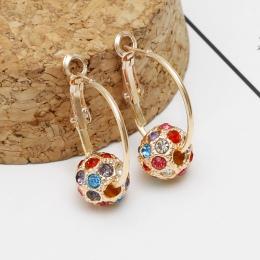Moda Austriackiej Crystal Ball Złoty/Srebrny Kolczyki Wysokiej Jakości Kolczyki Dla Kobiety Wedding Party Biżuteria Boucle D'ore