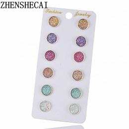 Nowe Mody Kryształ Rhinestone Stadniny Kolczyki dla Kobiet Dziewczyna Kobieta Mieszane 6 Kolory Pendientes Mujer Boucle D'oreill