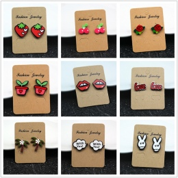 E098 Biżuteria Cute Cartoon Rose Arbuza Cherry Stadniny Kolczyki Dla Kobiet i Dziewcząt Twórczej Sztuki Owoce Rośliny Kolczyki