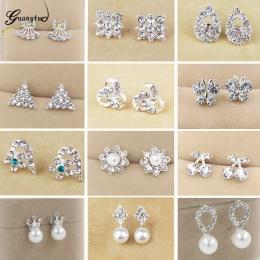 Gorąca Sprzedaż Śliczny Wykwintne Simlated Pearl Stadniny Kolczyki Kryształ Butterfly Snowflake Gwiazda Trójkąt Kształt Korony K