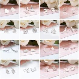 Srebrny Stal nierdzewna Zwierząt Serce Liść Kot Kwiat Gwiazda Stadniny Kolczyki dla Kobiet Dziewczyn Minimalistyczna Biżuteria A