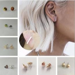 A-2 1 para z nowa oferta stylu geometryczne elementy fajne proste geometryczne okrągły serce miłość błyszczące kobiet biżuteria