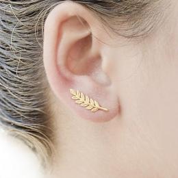 Shuangshuo New Vintage Biżuteria Wykwintne Kolczyki Z Piór dla Kobiet Piękne Drzewa Proste Zostawić klip Ucha Kolczyki brincos