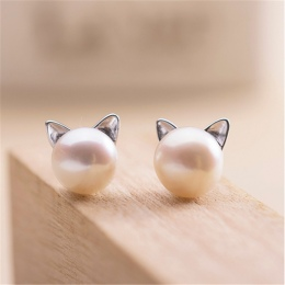 MISANANRYNE Symulowane Okrągły Perłą Stud Kolor Srebrny Ze Stali Nierdzewnej Słodkie Cat Kolczyk Moda Ślubna Biżuteria Pearl