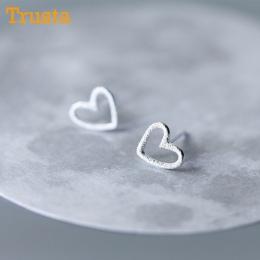Trusta 925 Srebro Biżuteria Kobiet Mody Słodkie Tiny 0.8 cm X 0.9 cm Hollow Serce Stadniny Kolczyki Prezent Dla dzieci dziewczyn