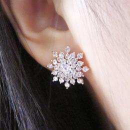 2017 Nowy!!! Panie Kryształ Płatek Śniegu Bijoux Oświadczenie Stadniny Kolczyki Dla Kobiet Kolczyk Biżuteria Darmowa Wysyłka E27