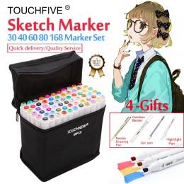 Touchfive Marker 30/40/60/80/168 kolory Art markery zestaw podwójne Headed na bazie alkoholu szkic mazak długopis dla rysunek ar