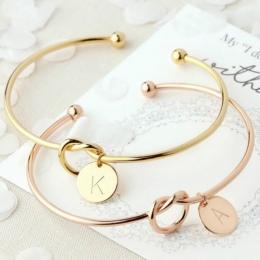 Europejskie i Amerykańskie metalu proste wiązane bransoletka 26 litery dzikie girlfriends bransoletka moda casual miłość bransol