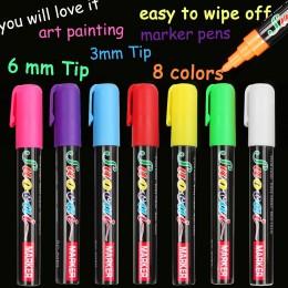8 kolorów wyróżnienia marker z kredą w płynie długopisy szkolne artystyczny obraz okrągły i dłuta wskazówka 6mm 3mm darmowa wysy