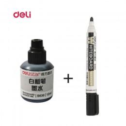 Deli kasowanie marker do białych tablic 1 sztuk tablicy + 1 tusz do butelek zestaw biurowy Dry Erase markery niebieski czarny cz