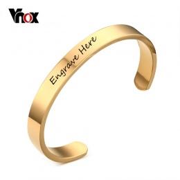 Bransoletka Dostosowane Biżuterii Vnox Darmowa Grawerowanie Mężczyzn Biżuteria Ze Stali Nierdzewnej 6mm 8mm Złoty Kolor Otwórz B