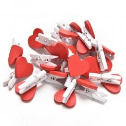 20 sztuk/paczka małe Kawaii serce miłość drewniane ubrania zdjęcie papieru Peg Pin Clothespin Craft pocztówka klipy Home dekorac
