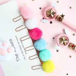 JIANWU 6 sztuk/zestaw śliczne Hairball różowe złoto klip modelowania spinacz do papieru moda biuro biznes pani styl biurowy zest