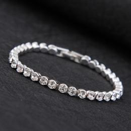 Urok mody CZ Bransoletki Dla Kobiet Kolor Srebrny Tenis Bransoletki Kryształ Wedding Party Biżuteria Pulseira Femina