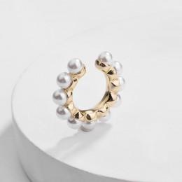 Czeski imitacja perły Ear Cuff dla kobiet dziewczyna Trendy okrągłe małe klipsy nie Piercing złoty Metal biżuteria ślubna Bijoux
