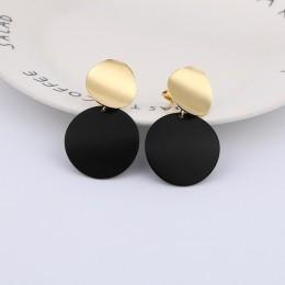 2019 moda nie przebili klip na kolczyki złoty czarny Metal okrągły dysk oświadczenie ucha spinki do włosów dla kobiet Bijoux Bri