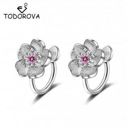 Todorova Korea styl Crystal kwiat wiśni kwiat klip na kolczyki bez Piercing dla dziewczyn Party słodki bez otworu klip do ucha