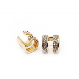 Kryształowe kolczyki dla kobiet Trendy małe okrągłe Ear Cuff złoto i srebro platerowane 2 rzędy Rhinestone klipsy bez Piercing