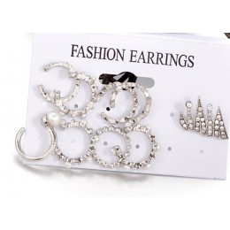 9 sztuk/zestaw Punk symulowane perły kryształowe klipsy dla kobiet czeski srebrny kolor Ear Cuff Brincos moda geometria biżuteri