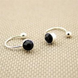 1 para kobiety dziewczyna klip na U ciała kolczyki z kryształkami ze stali nierdzewnej Ear Cuff Stud biżuteria na uszy na prezen