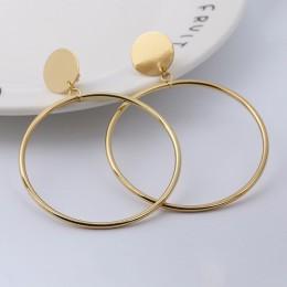 Proste moda złoto srebro platerowane geometryczne duże okrągłe nie przebili klip kolczyk dla bez otworu na ucho kobiet Big Hollo