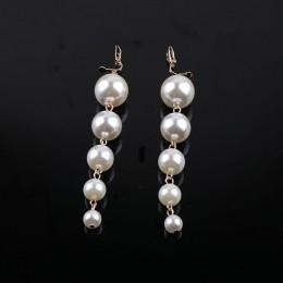 Trendy przesadzone Big symulowane Pearl długi dynda klip na kolczyki bez Piercing dla kobiet Wedding Party ucha klipy prezent