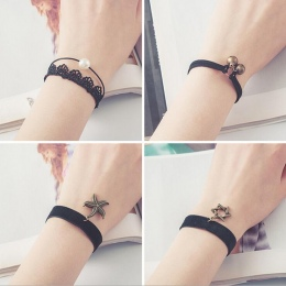 Darmowa wysyłka wholessale Vintage sztuczna pearl słońce black lace śliczne bransoletki i bangles handmade akcesoria biżuteria b