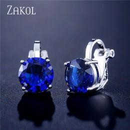 ZAKOL cyrkonia klip kolczyki dla kobiet moda biżuteria kryształ kolczyki kobiet Wedding Party prezent najwyższej jakości FSEP526